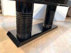 Art Deco Expandable Table Black Lacquer Metal Trims France circa 1930 - 2119076