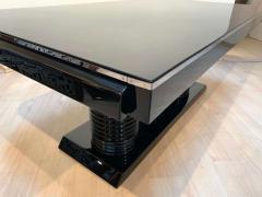 Art Deco Expandable Table Black Lacquer Metal Trims France circa 1930 - 2119077