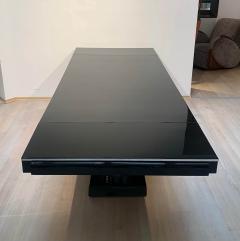 Art Deco Expandable Table Black Lacquer Metal Trims France circa 1930 - 2119078
