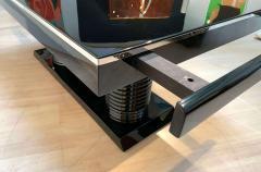 Art Deco Expandable Table Black Lacquer Metal Trims France circa 1930 - 2119079