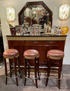 Art Deco Fluted Stand Behind Bar with Matching Stools - 1807031