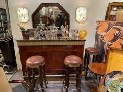 Art Deco Fluted Stand Behind Bar with Matching Stools - 1807042