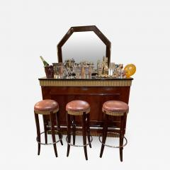Art Deco Fluted Stand Behind Bar with Matching Stools - 1807235