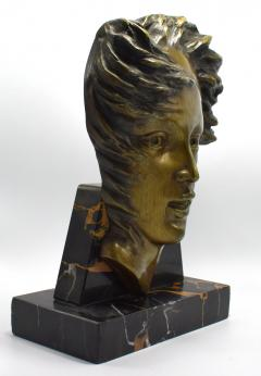 Art Deco French Bust On Marble Base Circa 1930 - 1106002