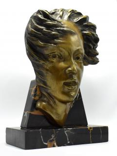 Art Deco French Bust On Marble Base Circa 1930 - 1106003