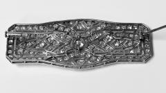 Art Deco French Diamond Platinum plaque Brooch C 1910 - 2061533