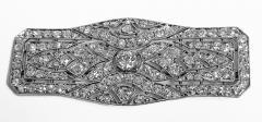 Art Deco French Diamond Platinum plaque Brooch C 1910 - 2061534
