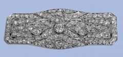 Art Deco French Diamond Platinum plaque Brooch C 1910 - 2061535