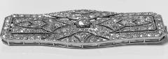 Art Deco French Diamond Platinum plaque Brooch C 1910 - 2061540