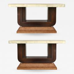 Art Deco Goatskin and Ostrich Clad Console Tables Pair - 1219206