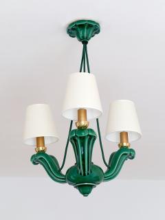 Art Deco Green Glazed Ceramic Three Light Chandelier France Late 1930s - 940315