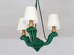 Art Deco Green Glazed Ceramic Three Light Chandelier France Late 1930s - 940316