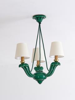 Art Deco Green Glazed Ceramic Three Light Chandelier France Late 1930s - 940317