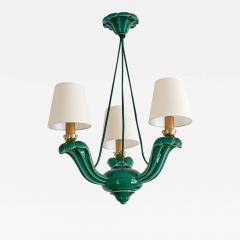 Art Deco Green Glazed Ceramic Three Light Chandelier France Late 1930s - 942159