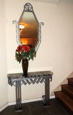 Art Deco Iron Marble Console With Matching Mirror - 1387162