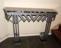 Art Deco Iron Marble Console With Matching Mirror - 1387163