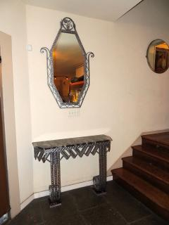 Art Deco Iron Marble Console With Matching Mirror - 1387164