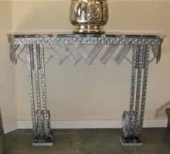 Art Deco Iron Marble Console With Matching Mirror - 1387168
