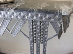 Art Deco Iron Marble Console With Matching Mirror - 1387170