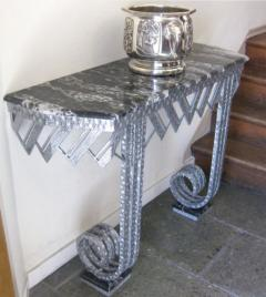 Art Deco Iron Marble Console With Matching Mirror - 1387171