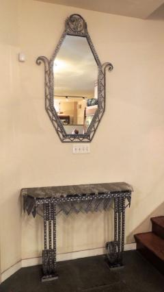 Art Deco Iron Marble Console With Matching Mirror - 1387174