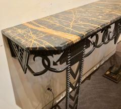 Art Deco Iron and Marble Grand Console Geometric French Style - 1352531