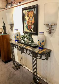 Art Deco Iron and Marble Grand Console Geometric French Style - 1352532