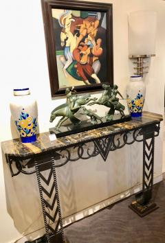 Art Deco Iron and Marble Grand Console Geometric French Style - 1352533