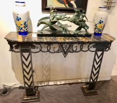 Art Deco Iron and Marble Grand Console Geometric French Style - 1352534