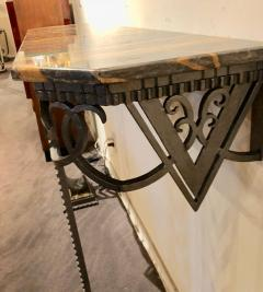 Art Deco Iron and Marble Grand Console Geometric French Style - 1352541