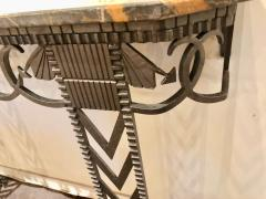 Art Deco Iron and Marble Grand Console Geometric French Style - 1352542