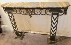 Art Deco Iron and Marble Grand Console Geometric French Style - 1352543