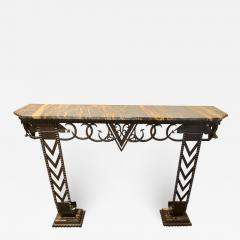 Art Deco Iron and Marble Grand Console Geometric French Style - 1352738