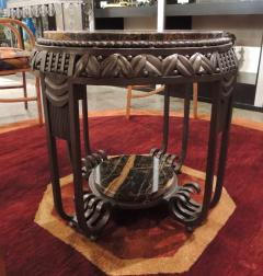 Art Deco Ironwork Side Table with Portoro Marble Top - 1343429