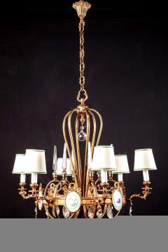 Art Deco Italian Brass Chandelier with Charming Porcelain Insert 1940 - 1764624