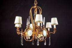 Art Deco Italian Brass Chandelier with Charming Porcelain Insert 1940 - 1764628