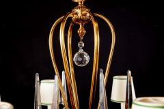 Art Deco Italian Brass Chandelier with Charming Porcelain Insert 1940 - 1764629
