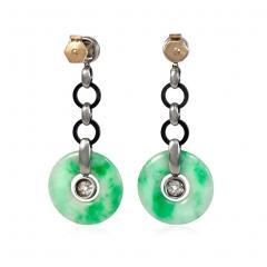 Art Deco Jade Disc Onyx and Diamond Earrings - 1976376