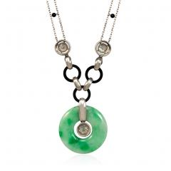 Art Deco Jade Disc Pendant Necklace with Diamonds and Onyx in Platinum - 1830215