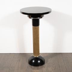 Art Deco Machine Age Black Lacquer Enamel Brass and Chrome Drinks Table - 1522649