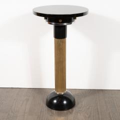 Art Deco Machine Age Black Lacquer Enamel Brass and Chrome Drinks Table - 1522655