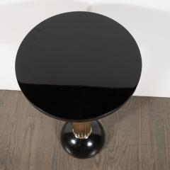 Art Deco Machine Age Black Lacquer Enamel Brass and Chrome Drinks Table - 1522681
