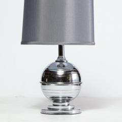 Art Deco Machine Age Skyscraper Style Striated Spherical Chrome Table Lamp - 1950111