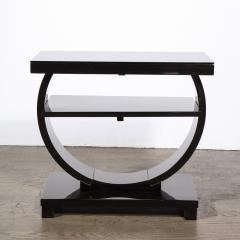 Art Deco Machine Age Two Tier Black Lacquer Vitrolite Demilune Side Table - 2004850