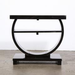 Art Deco Machine Age Two Tier Black Lacquer Vitrolite Demilune Side Table - 2004851