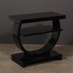 Art Deco Machine Age Two Tier Black Lacquer Vitrolite Demilune Side Table - 2004852