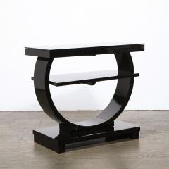 Art Deco Machine Age Two Tier Black Lacquer Vitrolite Demilune Side Table - 2004853
