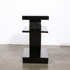Art Deco Machine Age Two Tier Black Lacquer Vitrolite Demilune Side Table - 2004865