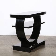 Art Deco Machine Age Two Tier Black Lacquer Vitrolite Demilune Side Table - 2004866