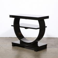 Art Deco Machine Age Two Tier Black Lacquer Vitrolite Demilune Side Table - 2004867